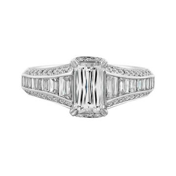Christopher Designs Crisscut Emerald Diamond Engagement Ring