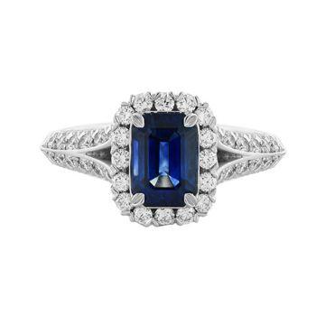 Christopher Designs Diamond Halo Emerald Cut Blue Sapphire Fashion Ring