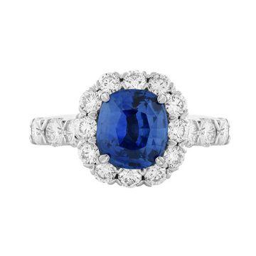 Christopher Designs Diamond Halo Cushion Cut Blue Sapphire Fashion Ring