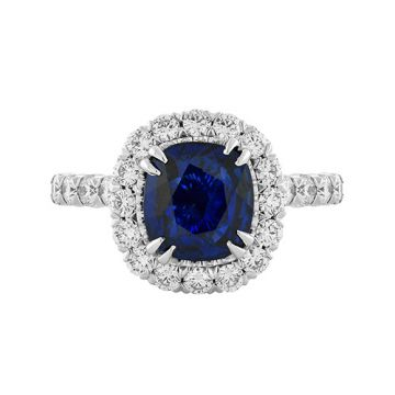 Christopher Designs Diamond Halo Blue Sapphire Cushion Center Fashion Ring