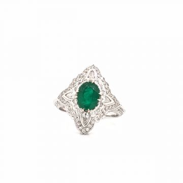 ONE FOURTEEN KARAT WHITE GOLD DIAMOND/EMERALD RING