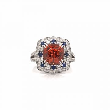 14 KARAT WHITE GOLD DIAMOND/SAPPHIRE/MANDARIN GARNET RING