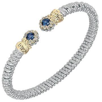 Alwand Vahan 4mm 14k Gold & Sterling Silver Diamond And London Blue Topaz  Bracelet