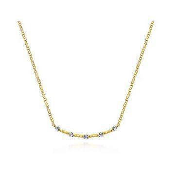 14 KARAT YELLOW GOLD DIAMOND BAR NECKLACE