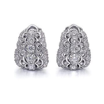Christopher Designs 14k White Gold Crisscut Collection Diamond Huggie Hoop Earrings