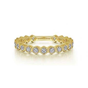14K YELLOW GOLD DIAMONDBACKS STACKABLE BAND