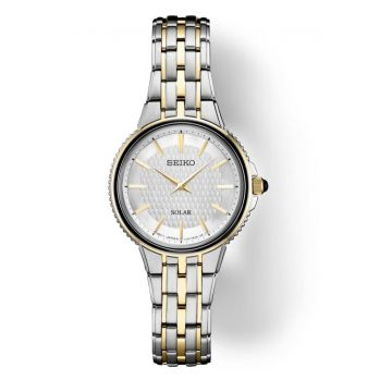 SEIKO SOLAR STAINLESS AND GOLD PLATED WATCH