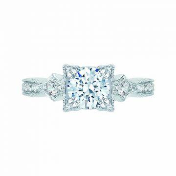 Carizza 14k White Gold Vintage Diamond Engagement Ring