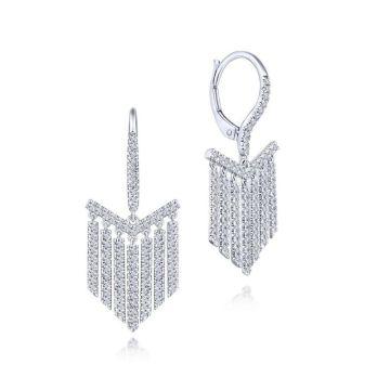 Gabriel & Co. 14k White Gold Art Moderne Diamond Drop Earrings