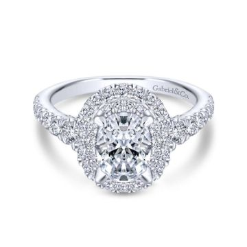 Gabriel & Co. 14k White Gold Rosette Double Halo Engagement Ring