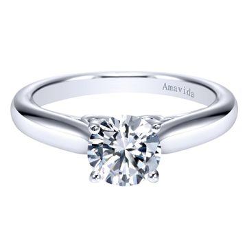 Amavida 18k White Gold Solitaire Engagement Ring