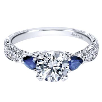 Amavida Platinum White Gold 3 Stones Diamond Engagement Ring