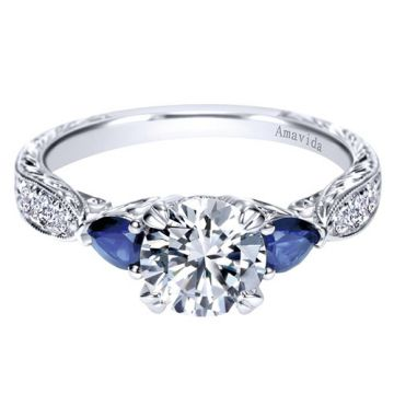 Amavida Platinum White Gold 3 Stones Diamond Engagement Ring
