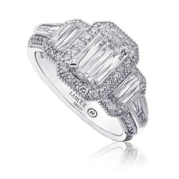 Christopher Designs 14k White Gold L'Amour Collection Three Stone Diamond Top Engagement Ring