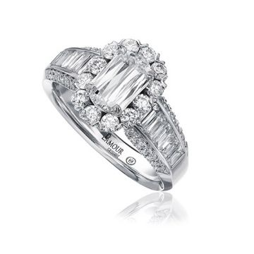 Christopher Designs 14k White Gold L'Amour Collection Diamond Halo Three Sided Diamond Engagement Ring