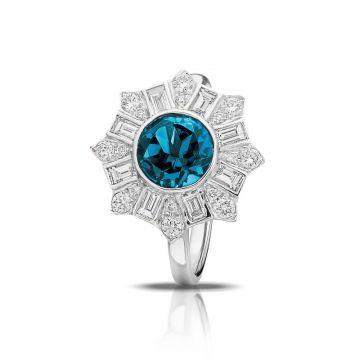 Doves 18k White Gold Little Bird Bridal Topaz Engagement Ring