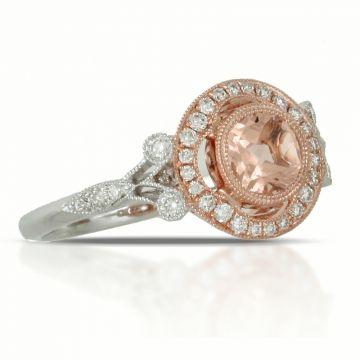Doves Two Tone 18k Gold Little Bird Bridal Morganite Engagement Ring