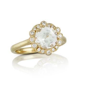 Doves 18k Rose Gold Little Bird Bridal Morganite Engagement Ring