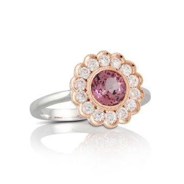 Doves 18k White Gold Little Bird Bridal Garnet Engagement Ring