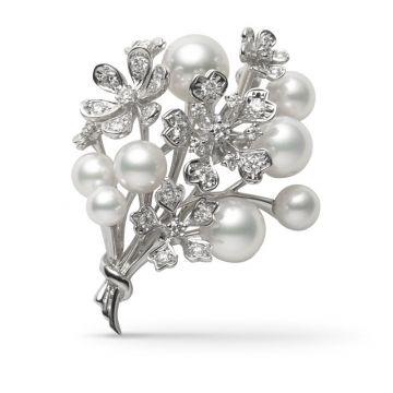 Mikimoto 18k White Gold Bloom Brooches