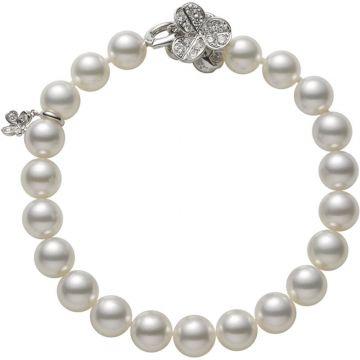 Mikimoto 18k White Gold Fortune Leaves Pearl Bracelet