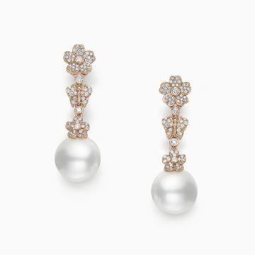 Mikimoto 18k Rose Gold Cherry Blossom Pearl Earrings