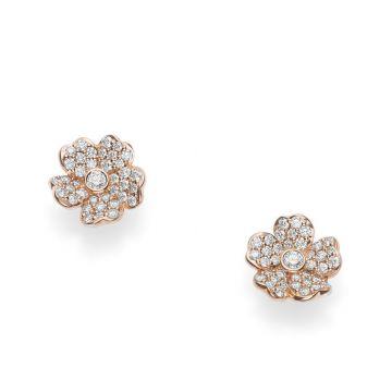 Mikimoto 18k Rose Gold Cherry Blossom Diamond Earrings