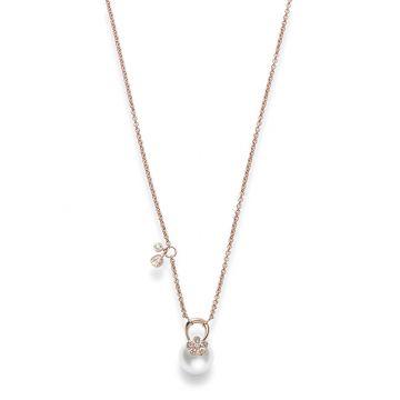 Mikimoto 18k Rose Gold Cherry Blossom Pearl Pendants