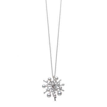 Mikimoto 18k White Gold Splash Pearl Pendants