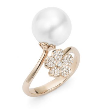 Mikimoto 18k Rose Gold Cherry Blossom Pearl Ring