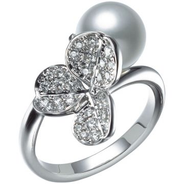 Mikimoto 18k White Gold Fortune Leaves Pearl Ring