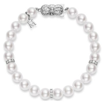 MIKIMOTO 18k White Gold Pearl and Diamond Bracelet