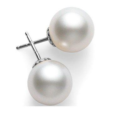 MIKIMOTO 18k White Gold White South Sea Pearl Stud Earrings