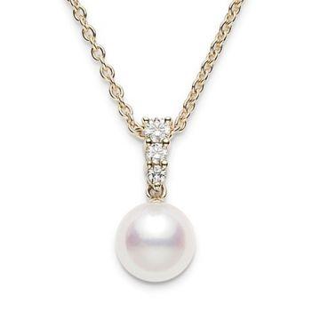 MIKIMOTO 18k White Gold Akoya Pearl and Diamond Pendant