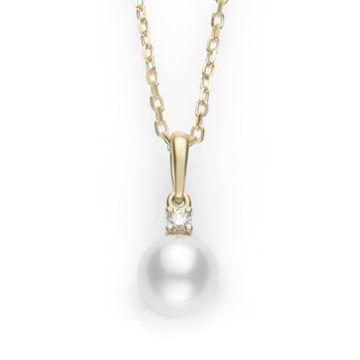 MIKIMOTO 18k White Gold Akoya Pearl Pendant with Diamond