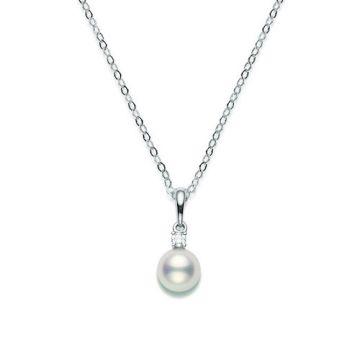 MIKIMOTO 18k White Gold Pearl and Diamond Pendant