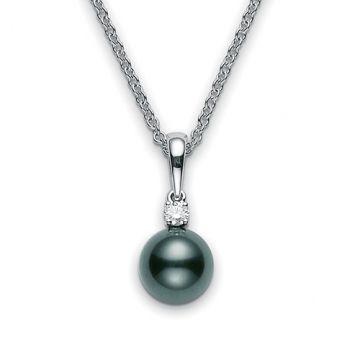 MIKIMOTO 18k White Gold A+ Black South Sea Diamond Pendant