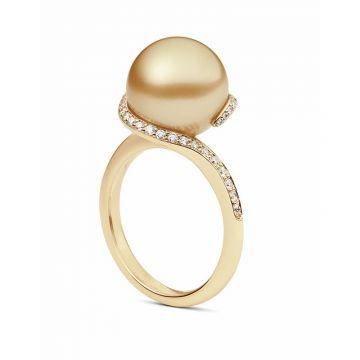 Mikimoto 18k Yellow Gold Twist Pearl Ring