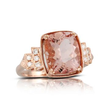 Doves 18k Rose Gold Rose Morganite Ring