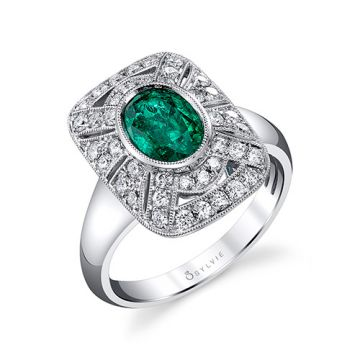 1.76tw Semi-Mount Engagement Ring With 1.20ct Oval Emerald