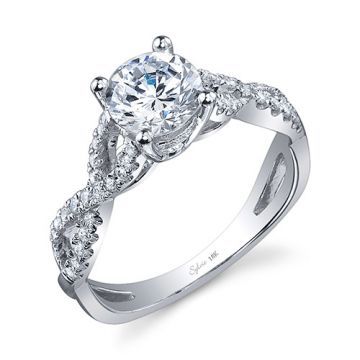0.26tw Semi-Mount Engagement Ring With 1ct Round Head