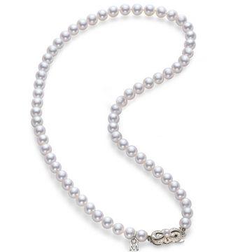 MIKIMOTO 18k White Gold Akoya Pearl Necklace