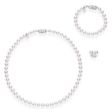 MIKIMOTO 18k White Gold Akoya Pearl Necklace Bracelet and Stud Set