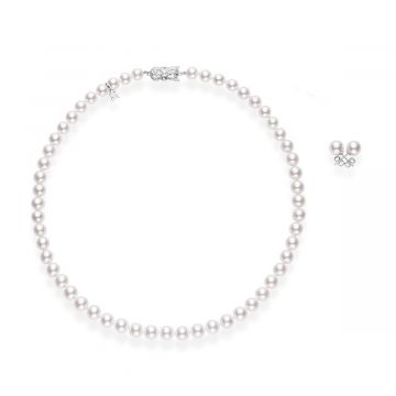 MIKIMOTO Two Piece 7-8mm Akoya Cultured Pearl Set