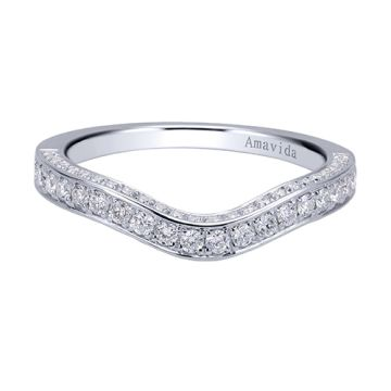 Amavida 18k White Gold Contemporary Curved Wedding Band