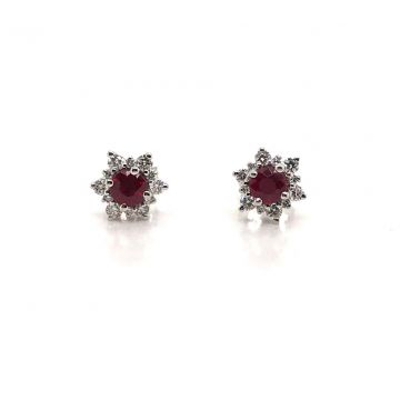 14K WHITE GOLD DIAMOND AND RUBY EARRINGS