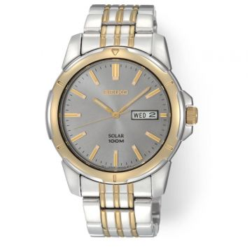 SEIKO SOLAR STAINLESS STEEL AND YELLOW GOLD PLATED WATCH