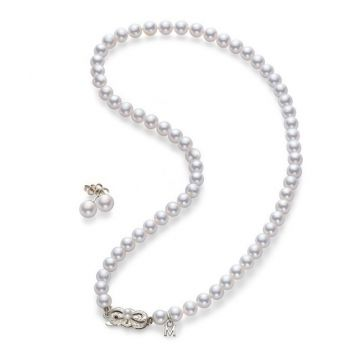 18 KARAT WHITE GOLD 7.00 MILLIMETER MIKIMOTO AKOYA PEARL NECKLACE AND EARRING SET