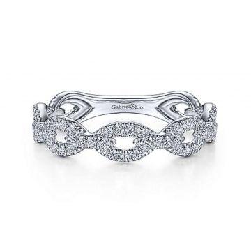 14 KARAT WHITE GOLD DIAMOND PAVE CHAIN LINK ETERNITY RING
