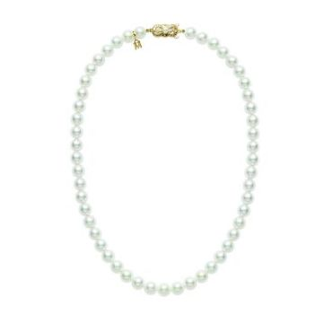 18K YELLOW GOLD MIKIMOTO 7X6.5 MILLIMETER PEARL NECKLACE.